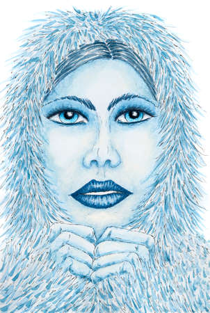 Portrait of woman with fur clothing. Ink and watercolor on rough paper. Reklamní fotografie