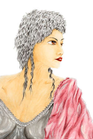 Portrait of woman in ancient style clothing. Watercolor and gouache on rough paper. Reklamní fotografie