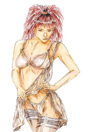 Femme en sous-vêtements sensuels. Encre, aquarelle et gouache sur papier rugueux. Banque d'images