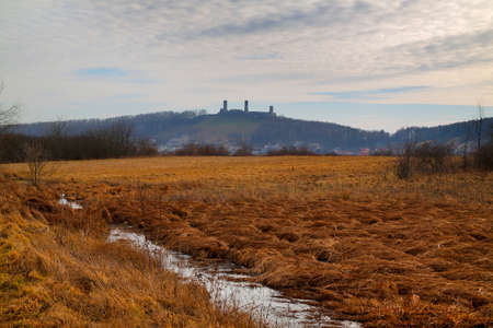 Spring meadows with Checiny Royal Castle (from late 13th century) on background. Poland, Checiny, The Holy Cross Mountains.