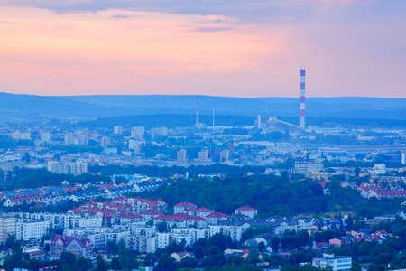 Cityscape at dusk. Poland, Kielce, The Holy Cross Mountains. Standard-Bild - 102702035
