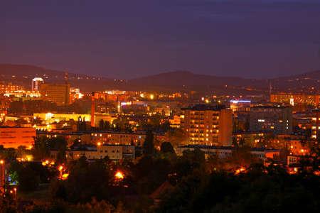 Night shot of cityscape. Poland, Kielce, The Holy Cross Mountains.