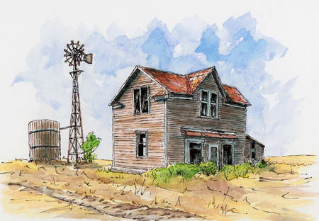 Abandoned house somewhere in USA. Loose sketch. Ink and watercolor on cardboard.