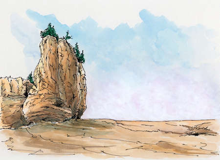 Rock formation at the Canadian Bay of Fundy. Loose sketch. Ink and watercolor on cardboard. Reklamní fotografie - 124374798