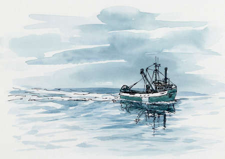 Small fishing trawler. Ink and watercolor on cardboard.