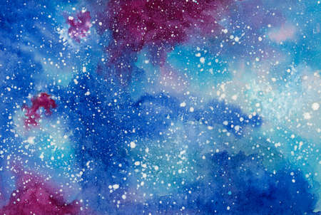 Starry night galaxy. Watercolor on cardboard.