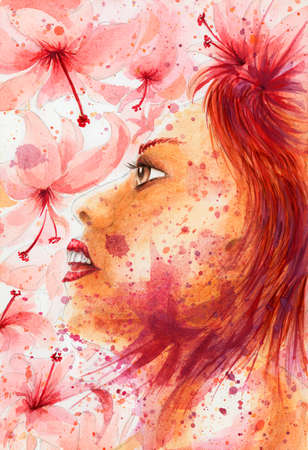 Grunge abstract woman portrait over flowery background. Watercolor on coarse paper.