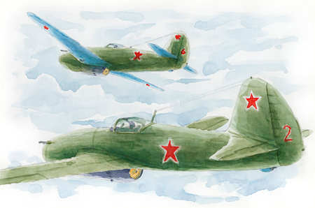 Pair of a first-generation Soviet jet fighters  in fly. Loose sketch. Watercolor on paper. Reklamní fotografie