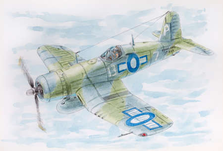 Drawing of a fighter   in fly. Pencil and watercolor on paper.