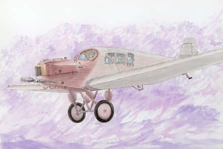 Drawing of a first all-metal passenger aircraft Junkers  in fly. Pencil and watercolor on paper.