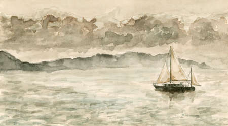 Seascape with sailboat. Watercolor (miniature) on cardboard.