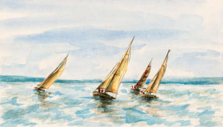 The race of sailboats. Watercolor (miniature) on cardboard.