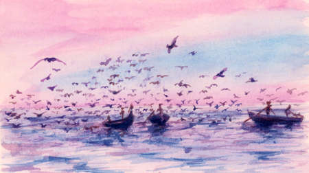 Small fishing boats and birds under warm sky. Watercolor (miniature) on cardboard. Reklamní fotografie