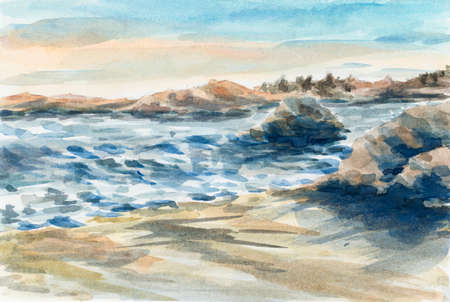 Sea coastline with rocks on the beach. Watercolor (miniature) on coarse paper. Reklamní fotografie