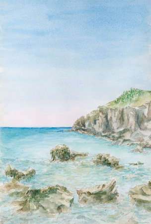 Sea coastline with rocks. Watercolor on paper.