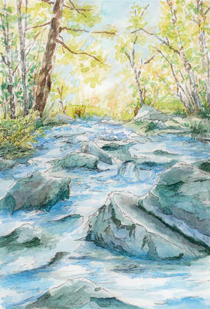 Stony river flow between trees. Watercolor on paper.