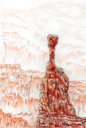 Bryce Canyon National Park, Utah, USA. Thors Hammer. Watercolor on paper.