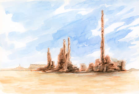 The Totem Pole. Monument Valley, Arizona-Utah border, USA. Watercolor on paper.
