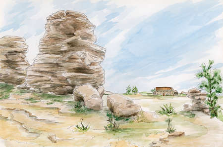 Fantasy rocks formations. Yorkshire, UK. Pencil and watercolor on paper. Reklamní fotografie