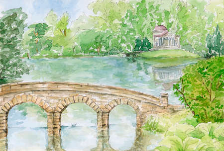 Stourhead Garden. The Palladian Bridge and Pantheon. Stourhead, UK. Pencil and watercolor on paper. Reklamní fotografie