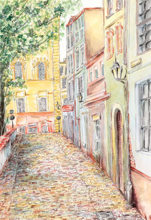 Ancient street. Pencil and watercolor on paper. Reklamní fotografie