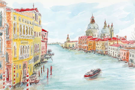 The Grand Canal. Venice, Italy. Pencil and watercolor on paper. Reklamní fotografie