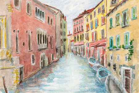 Canal between ancient buildings. Venice, Italy. Pencil and watercolor on paper.