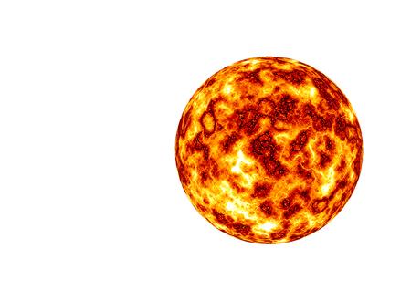 Burning planet isolated on the white background