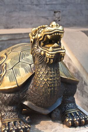 Close-up bronze turtle on the stone for travel design photo