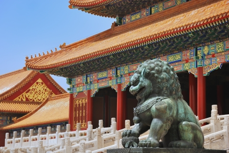 Bronze lion near the entrance to Emperor Temple in Forbidden City