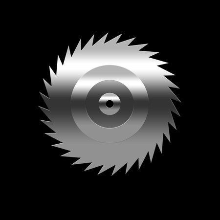Isolated blade of saw on the black background photo