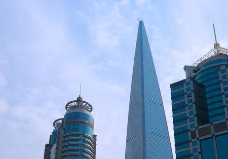 High and beautiful skyscrapers in sky of  Shanghai