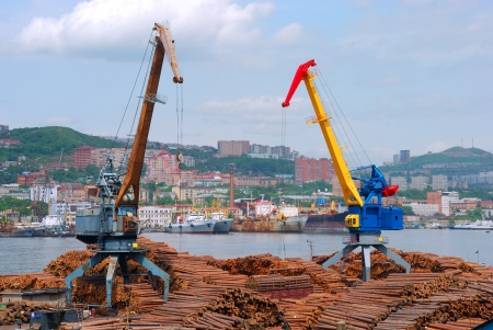 Seaport cranes loading a wood to vagon Stock Photo - 22465085
