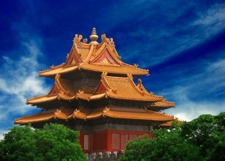 Beautiful ancient temple in the corner of Forbidden City Stock Photo