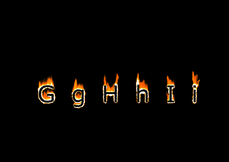 Letters G, H, I of alphabet in fire Stock Photo - 22465329