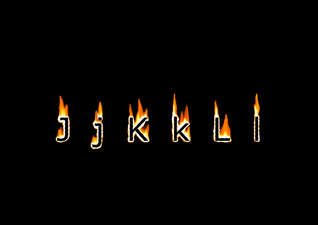 Letters J, K, L of alphabet in fire photo