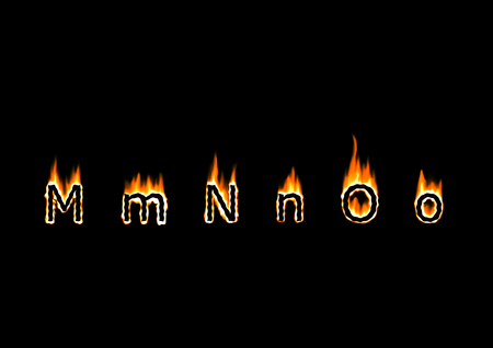 Letters M, N, O of alphabet in fire Stock Photo - 22465337
