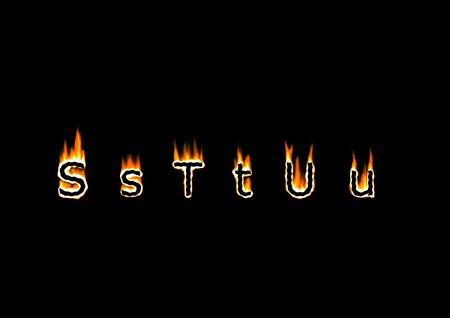 u s: Letters S, T, U of alphabet in fire Stock Photo