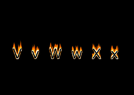 hot frame: Letters V, W, X of alphabet in fire
