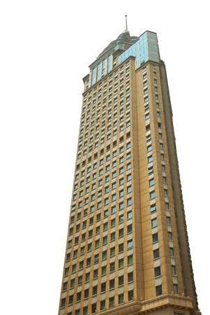 Isolated high skyscraper on the white background