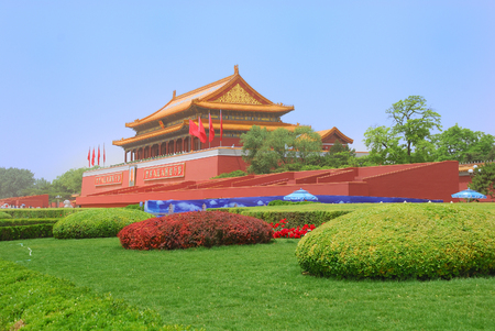 Tiananmen Gate Tower of Forbidden City in China Editorial