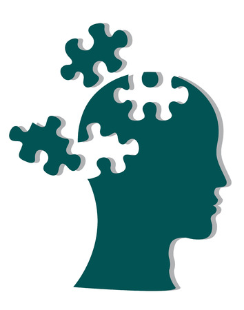 cognitive: People head with puzzles for psychology concept. Vector illustration