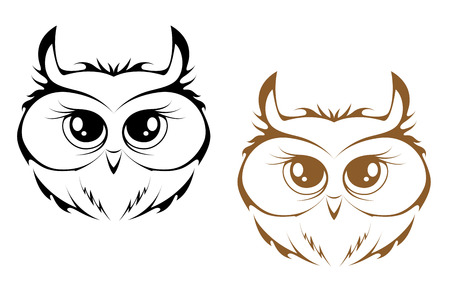 Owl heads in black and brown variations. Vector illustration Vector