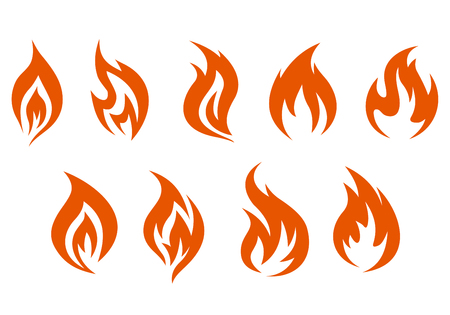 hell fire: Fire symbols isolated on white background. Vector illustration