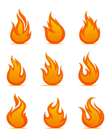 Fire warning symbols on white background. Vector illustration Vector