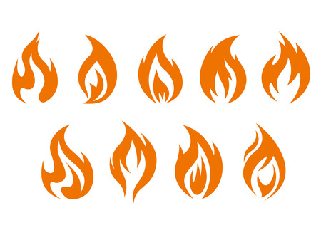 combustion: Fire flames symbols isolated on white background. Vector illustration