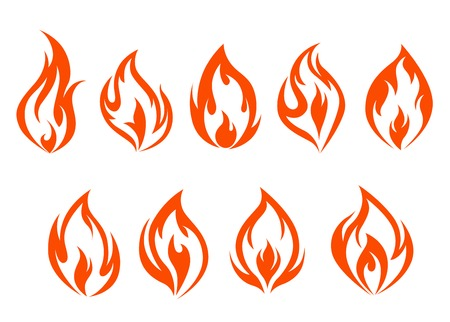 Fire flames set isolated on white background. Vector illustration