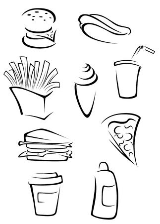Fast food elements set in silhouette style. Vector illustration Vector