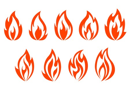fervour: Fire flames symbols isolated on white background. Vector illustration