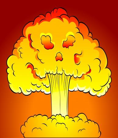 bombe atomique: Explosion nucléaire avec le nuage de crâne. Vector illustration